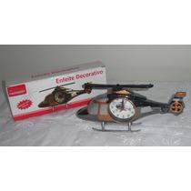 Relógio De Mesa Helicoptero Detalhado Com Alarme No Leilao *
