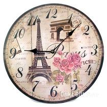 Relogio De Parede Torre Eiffel Paris Vintage Em Mdf 34cm