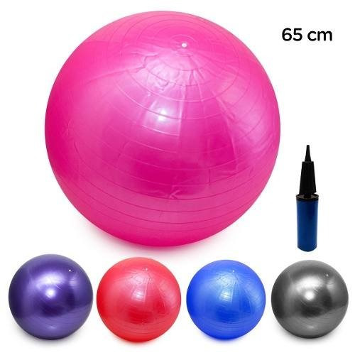 Bola Pilates Yoga Abdominal Ginástica Fitness 65cm C  Bomba - R  37 ... 195b265202e38