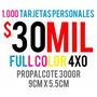1000 Tarjetas De Presentacion Full Color Barnizadas 1 Cara