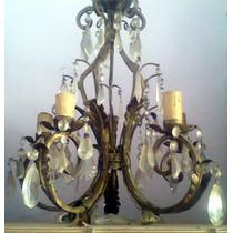 Antigua Araña Cinco Luces Con Caireles De Cristal