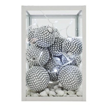 Bola Plateada Esfera Decorada Brillantes Diamantes Boda 4kit