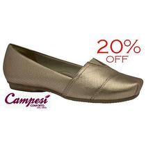 20%off Sapatilha Campesí Dakota Conforto Couro Dourado L4594
