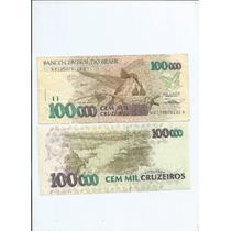 Cedula 100000 Cem Mil Cruzeiros S/ Carimbo 10.00 - Fé