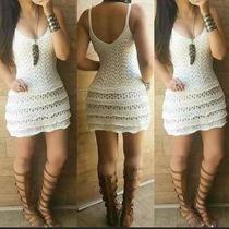 Vestido De Crochê Com Babado Branco Panicat Moda