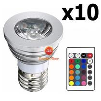 Kit 10 Lampada Rgb Spot Led 3w 16 Cores Bivolt C/ Controle