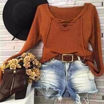 Blusa Tricot/tricô Feminina Outono Inverno Cordão Bruna