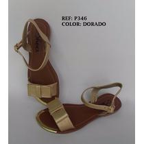 Sandalia Dama Plana Dorada Elegante Zapato Mujer Envío Grati