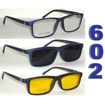Armação P/ Óculos De Grau Acetato Preto + 2 Clip-on