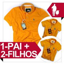 Kit 1 Pai E 2 Filhos Iguais, Camisa Polo Qualidade De Import
