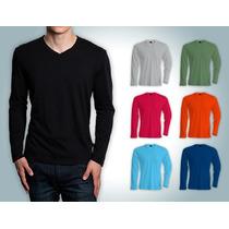 Franelas Manga Larga Cuello V Unicolor Sweater Algodon