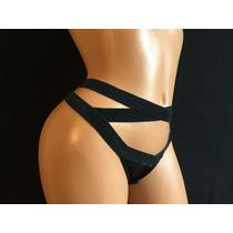 Tanga Victorias Secret Negra Con Cordones Laterales Mt80