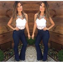 Calça Jeans Cintura Alta Flare Feminina Cós Alto Panicat