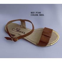 Zapato Sandalia Dama Plana Miel Elegante Mujer Envío Grati