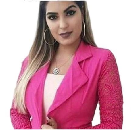596844396e Blazer Casaco Casaquinho Manga Longa Renda Guipir Feminino - R  87 ...