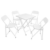 Conjunto Mesa De Ferro Metalmix Dobrável Com 4 Cadeiras