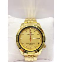 Relógio Masculino Tecnet Dourado Promoção Pronta Entrega