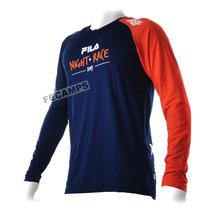 Camisa Fila Night Run Camiseta Mga. Longa Corrida Veja Frete