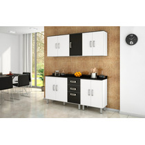 Cozinha Armários Modulada 4 Peças Branco Preto Poliman