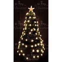 Arbol Navidad Fibra Optica Luz Led Estrellas Calido 1,20 Mts