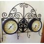 Perchero Metalico Reloj Y Termometro Hermoso Diseño Antiguo