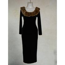 Hermoso Vestido Antiguo Diseñador Terciopelo Escote Peluche