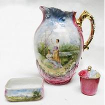 Antiguo Conjunto Artículos Tocador Porcelana Limoges *s