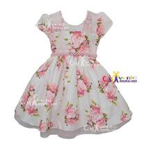 Vestido Festa Infantil Floral Daminha Tam 04 Ao 12 Com Tiara