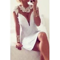 Vestido Rodado Branco Com Bojo Decote Tule E Renda Réveillon