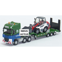 Miniatura Caminhão Prancha + Trator Escavadeira Kdw Esc 1/87