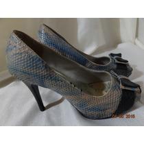 Peep Toe Cha De Mel! Sapato Feminino - Scarpin, Azul Creme