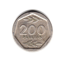 Moneda España 200 Pesetas 1987 Km#829 Rey Juan Carlos I