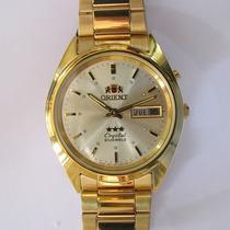 Relógio Orient Automático Folhado À Ouro Masculino, Original