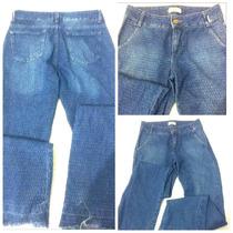Calça Flare Barra Desfiada Tamanho 36 Jeans Texturizado