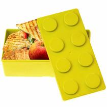 Topper Dulcero Lonchera Multiusos Forma Lego Amarillo H3192
