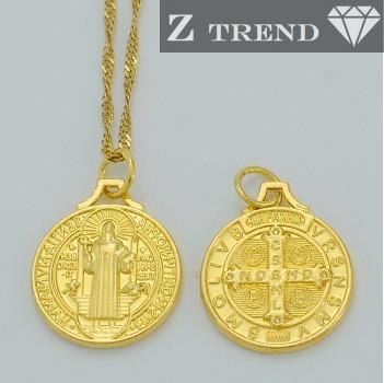 1246f5af48faa Corrente E Pingente Medalha São Bento Ouro 18 K Gold Filled - R  120 ...