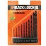 Kit Jogo Brocas Black And Decker Para Furadeira Metal Com 10