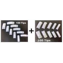 100 Tip Meia Lua+100 Tip Sorriso Unha Gel Porcelana Acrigel