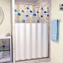 Cortinas Com Visor Para Banheiros Box, Acompanha Ganchos