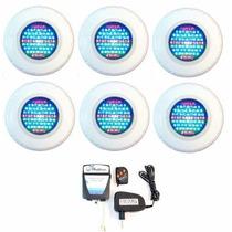Kit Refletor Piscina 6 Iluminação Led 45 Colorido + Comando