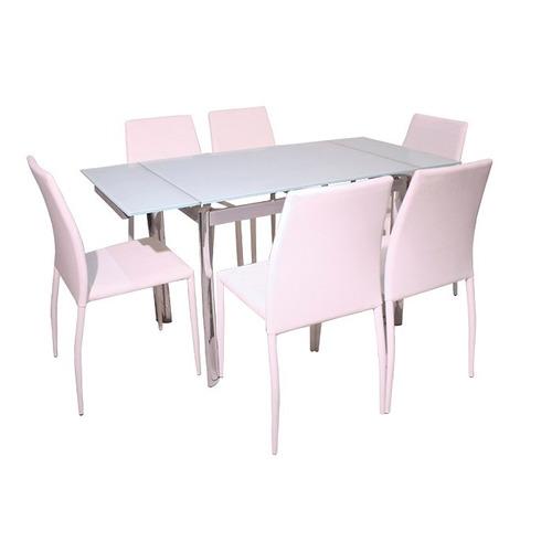 Juego de comedor extensible con 6 sillas vidrio blanco for Comedor vidrio 6 sillas