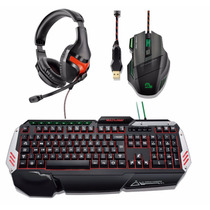 Kit Gamer Macro Multilaser Fone+ Teclado Led+mouse Fire 3200