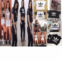 Cropped Top Blusinha Gola Alta Adidas Varias Cores E Modelos