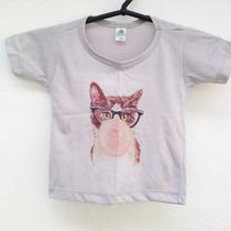Camiseta Estampada Blusa Infantil 1 Ano Gatinho Clicletes