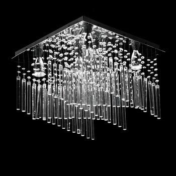 lámpara de techo tipo candil cristal cortado 6 luces led gl