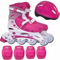 Patins Infantil Ajustável N°37 A 40 Com Kit Proteção Barbie