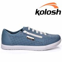 20% Off Tênis Casual Kolosh Couro Zíper Azul Jeans C0651