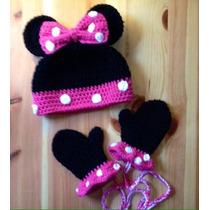 Set Minnie Mouse Gorro Y Guantes
