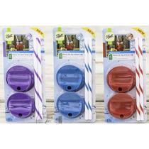 Tapa Con Popote Para Mason Jar Sip & Straw Set De 4 Ba