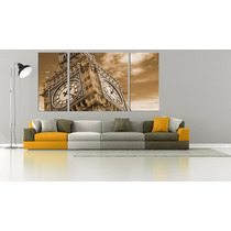 Big Ben Bastidor En Tela Canvas 200x100 Triptico